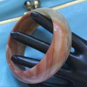 HANDMADE GENUINE MARBLE CARVED BANGLE BRACELET